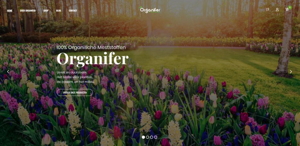 Printscreen nieuwe website organifer